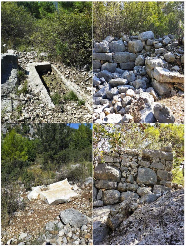 Şekil 2. Hayıtlıgöl (Lyrnas) Antik Kenti'nden tarihi yapı ve eser görüntüleri