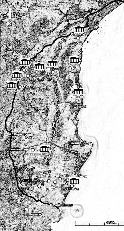 Şekil 3.1 Roma İmparatorluğu Dönemi sınırları ile Phaselis Antik Kenti haritası ve arazi çalışması gerçekleştirilen lokaliteler