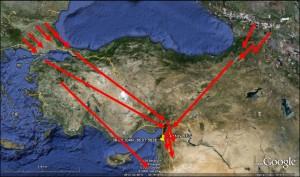 Türkiye'nin önemli göç yolları. Boğazlar ve Kafkaslardan gelen Yırtıcı Kuş ve Leylek gibi türler Hatay ve Kıbrıs üzerinden göçlerine devam ederler (Literatürlerden derlenerek oluşturulmuştur)