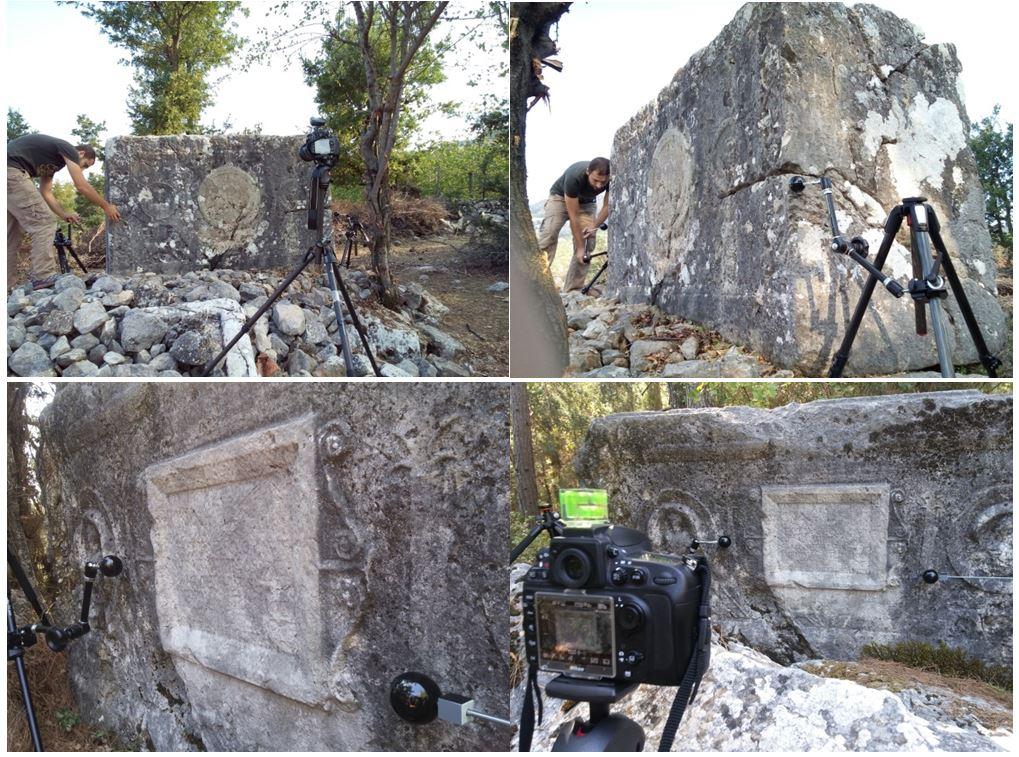 Teritoryum çalışmalarında Beşiktaş mevkiide lahit üzerinde bulunan mezar yazıtının H-RTI kurulum görüntüleri.