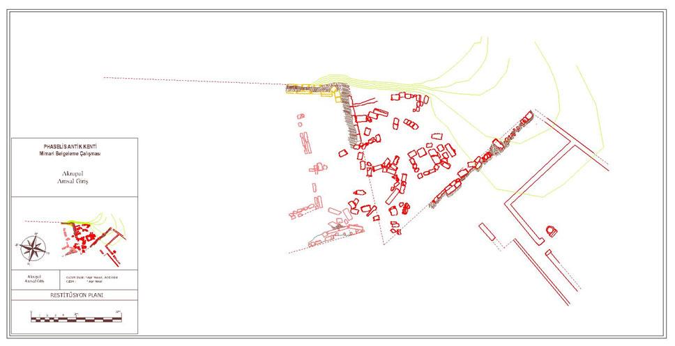 Sütunlu Yapı ve önündeki Meydan Düzenlemesi restitüsyon planı